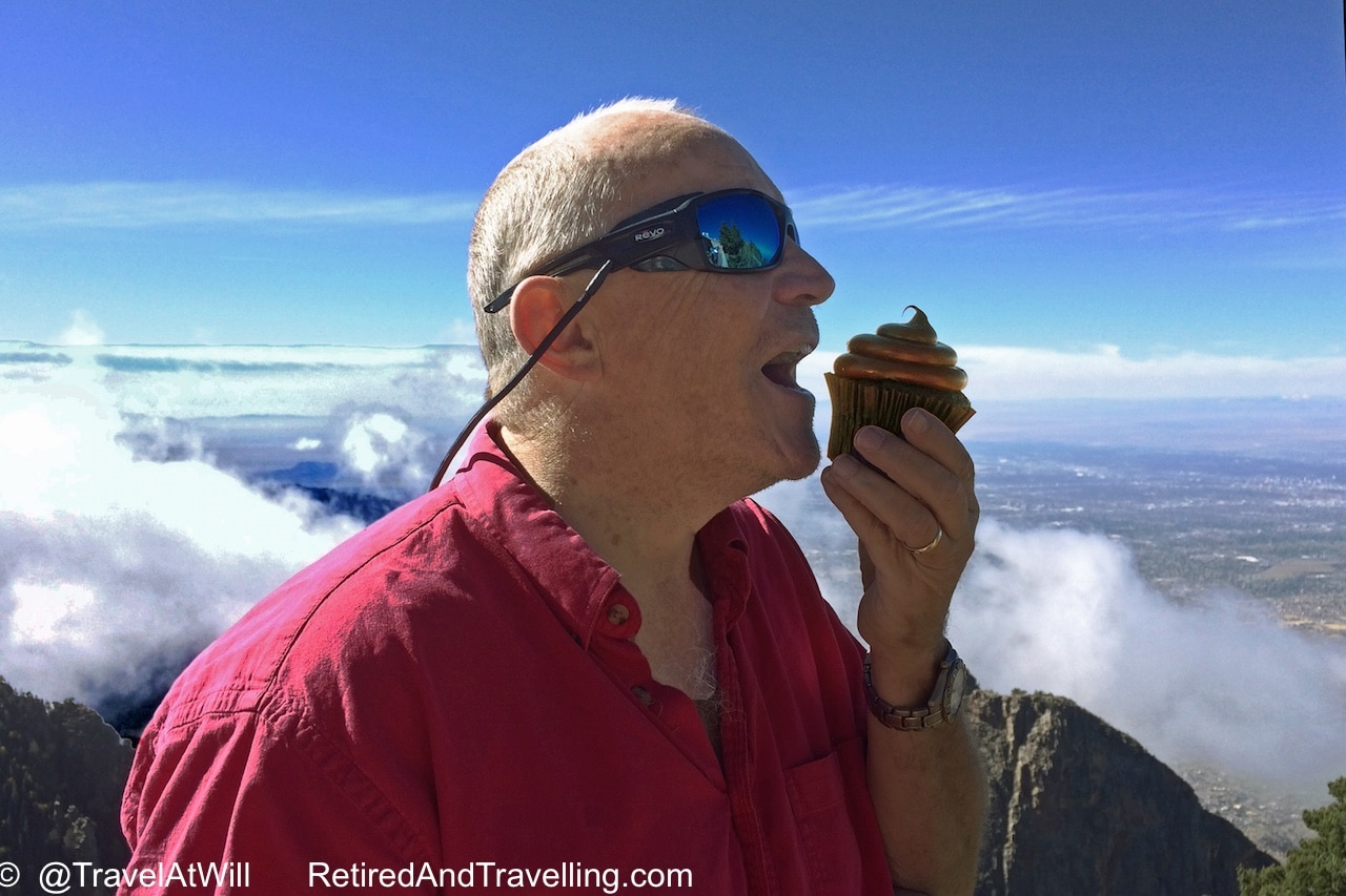 David and his chocolate cupcake high above Albuquerque!