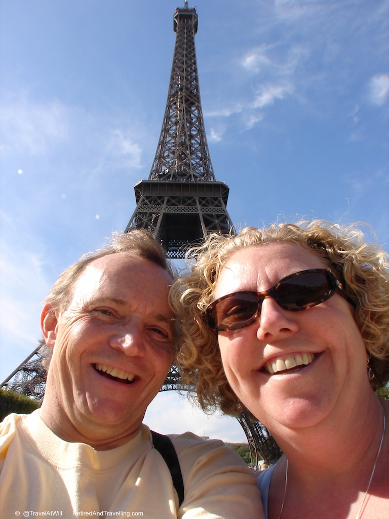 Linda and David in Paris under the Eiffel Tower!