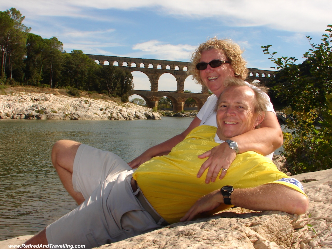 Lounging by the Pont du Garde in France!