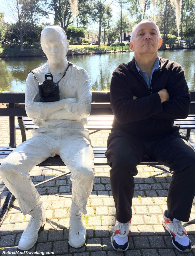 David and his quiet friend at the Outdoor Sculpture Garden in New Orleans!