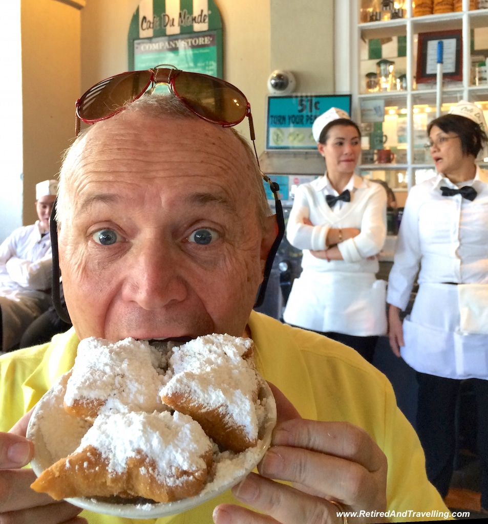 David has his beignets at Cafe Du Monde in New Orleans.