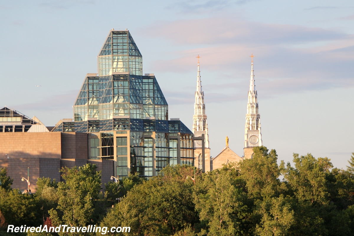 Notre-Dame Cathedral Basilica Church and the National Gallery - Ottawa From The River.jpg