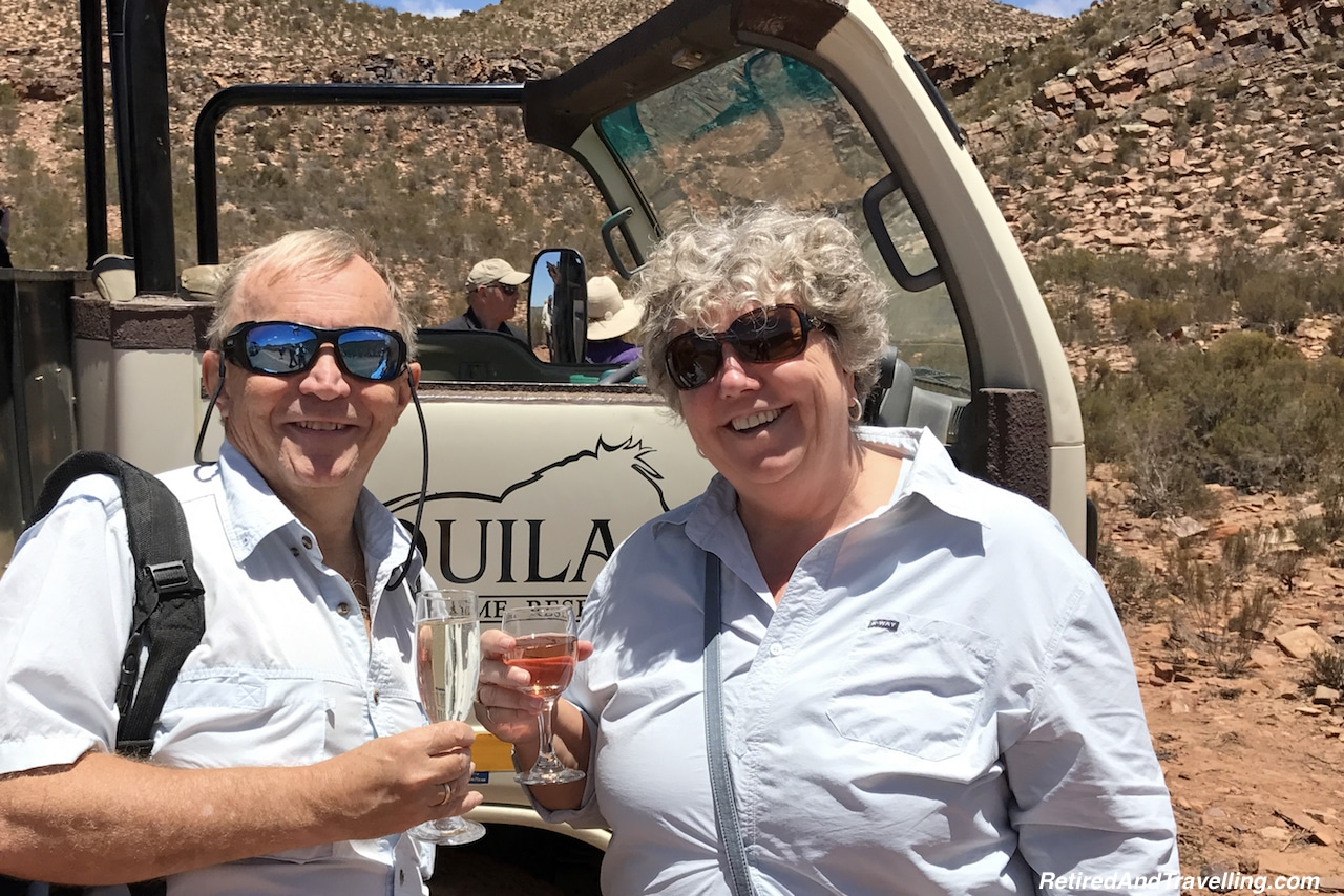 Champagne on our game drive in Cape Town