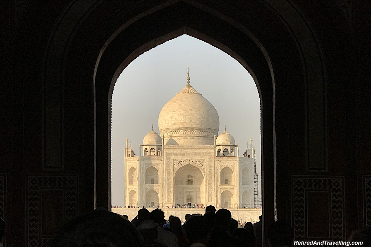 First Glimpse - Taj Mahal at Sunrise and Sunset.jpg