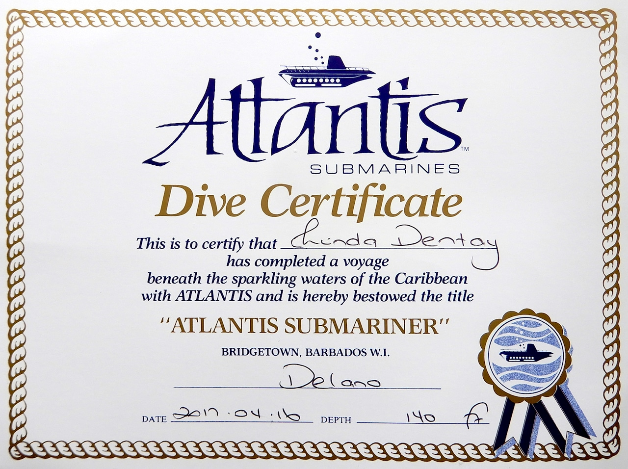 Atlantis Submarine Dive Certificate - Submarine Ride in Barbados.jpg