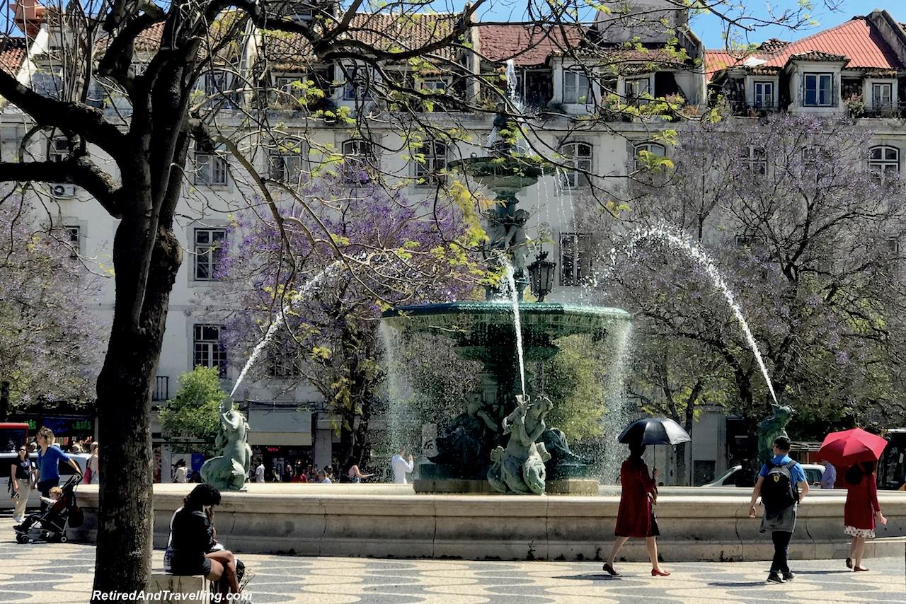Santa Justa Square Fountain - Walking in Lisbon Down The Avenida da Liberdade.jpg