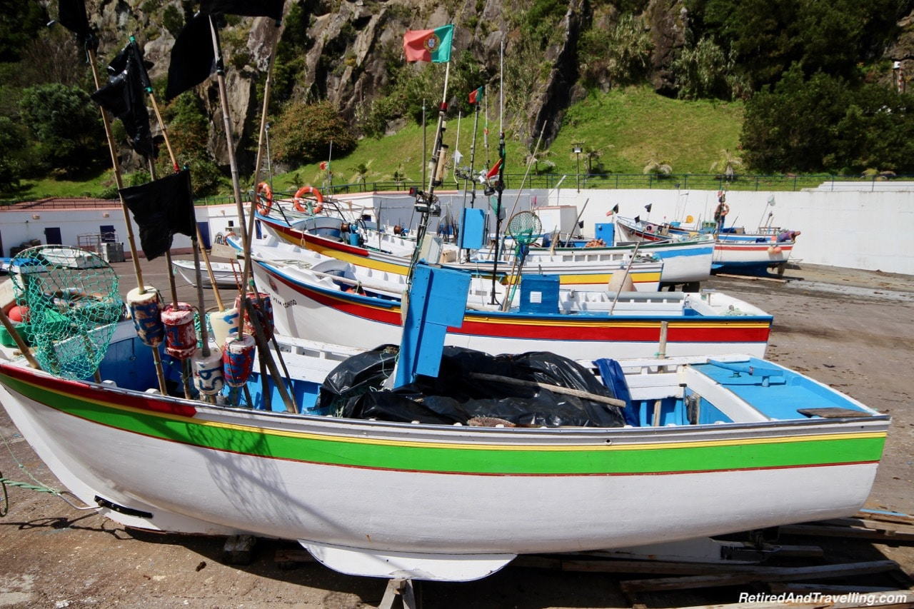 Caloura Port Fishing Boats - Pounding Surf on Sao Miguel.jpg