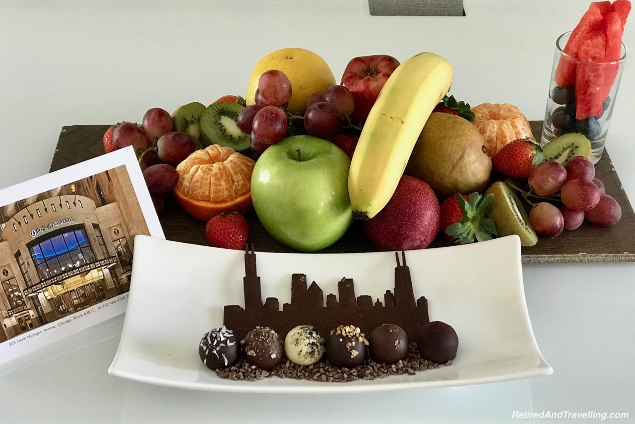 Intercontinental Welcome Amenity Chocolate and Fruit - Food In Chicago.jpg