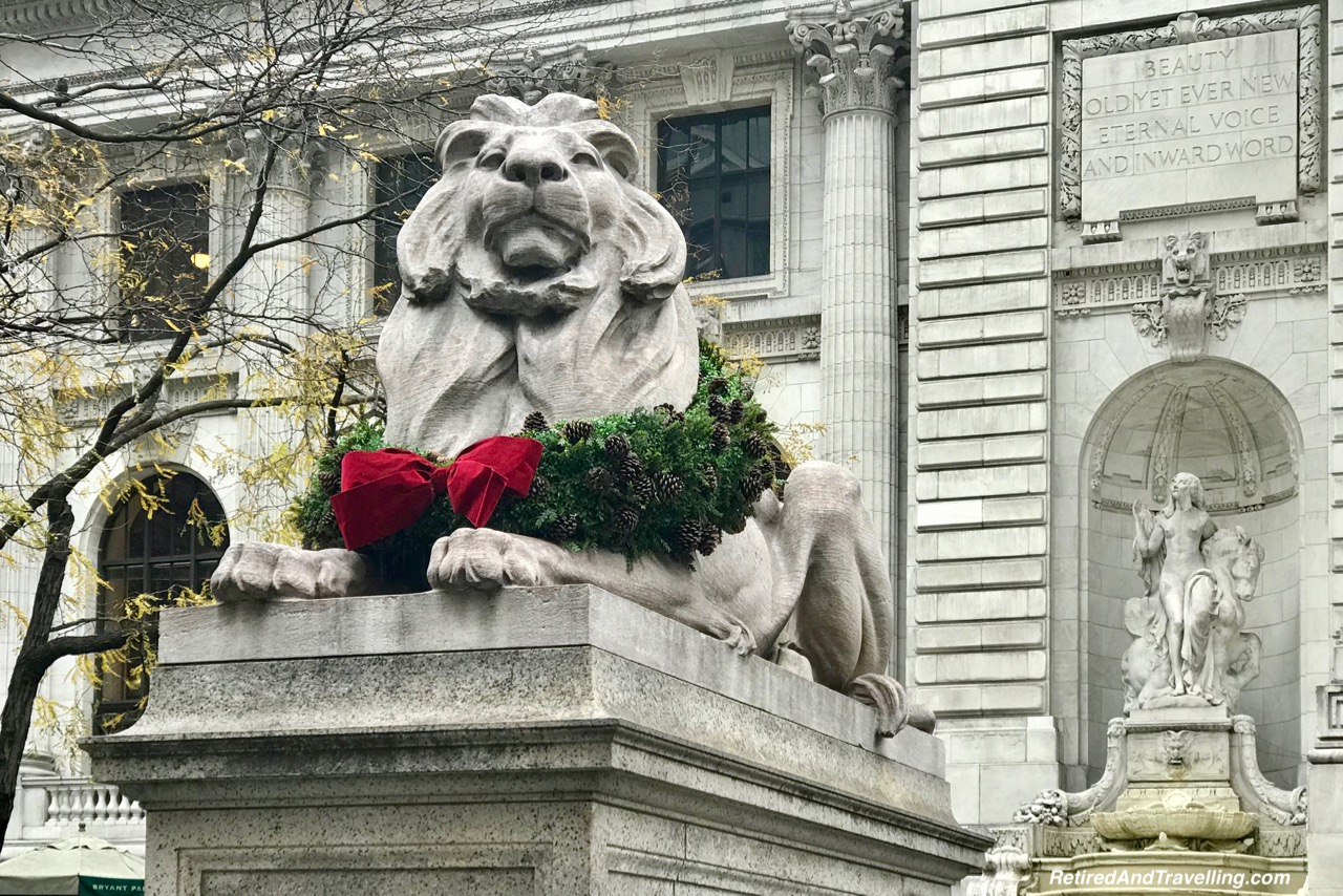NYC Library Lion Holiday Decor - Holiday Visit To NYC.jpg