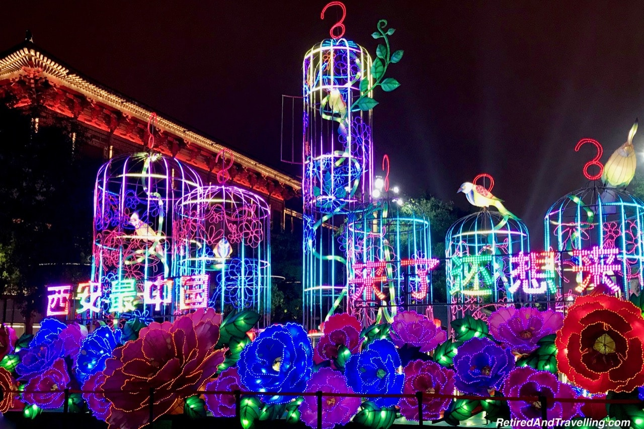 Xian S. Yanta Street Night Light Show Birdcage - Great Things To Discover In Xian China.jpg
