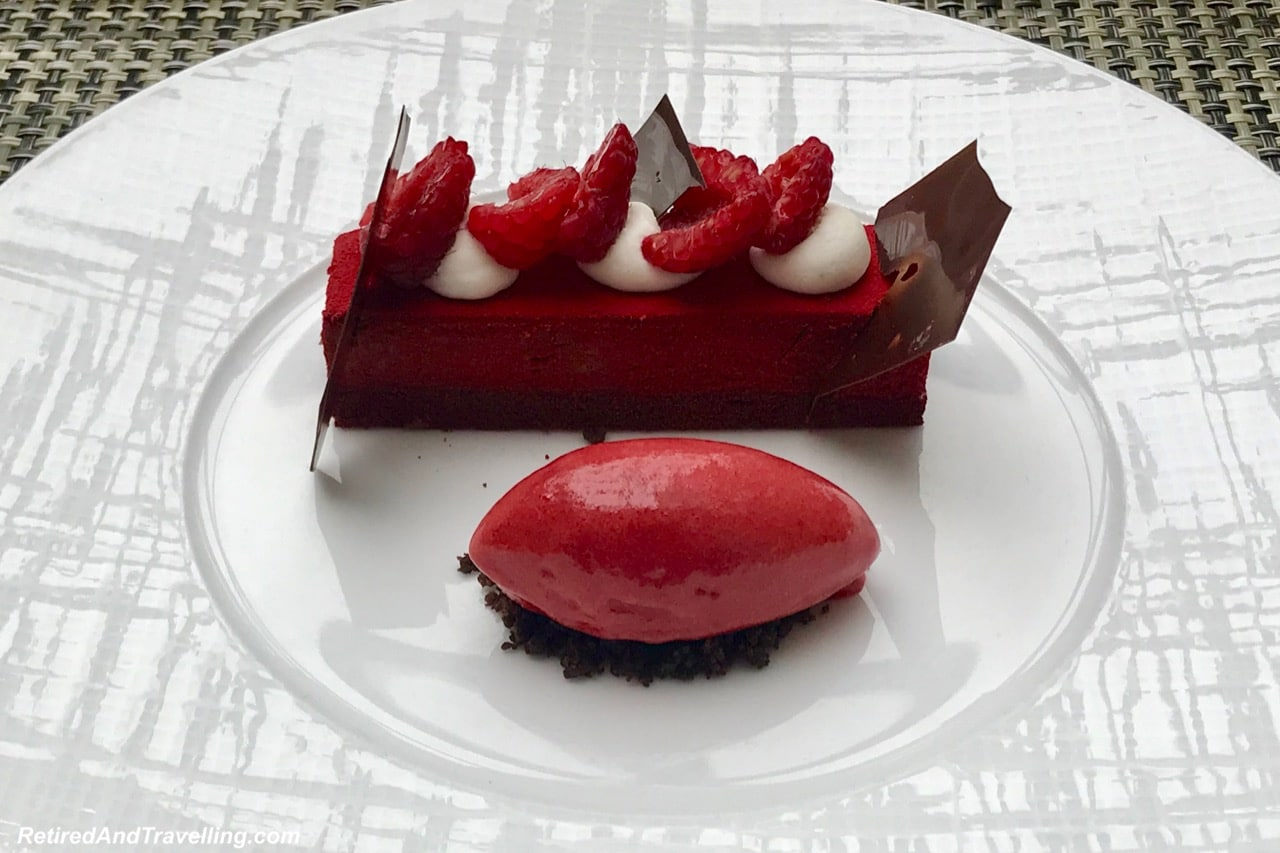 Maison Boulud Restaurant Food Chocolate Raspberry Dessert - Luxury Getaway At Ritz-Carlton Montreal.jpg