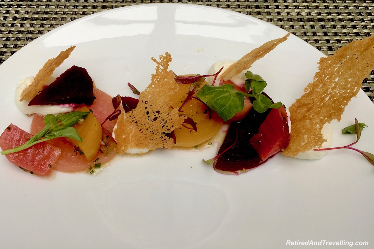 Maison Boulud Restaurant Food Beet Goat Cheese - Luxury Getaway At Ritz-Carlton Montreal.jpg